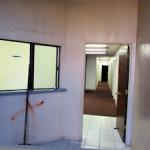 Commercial remodel Marked for remodel, entrance